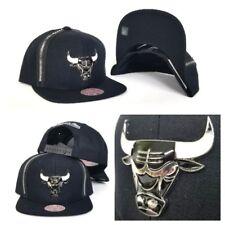 Mitchell & Ness Zipper Black / Silver Metal Badge Chicago Bulls snapback Hat Cap