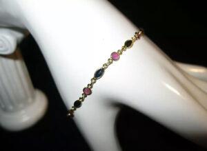 Retro 14k Yellow Gold Sapphire and Ruby Tennis Bracelet, Sz. 7, 1.30ct