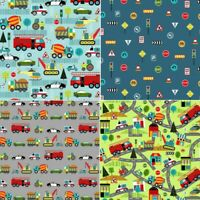 100% Cotton Fabric Nutex Around Town Police Car Fire Engine Roadworks Signs