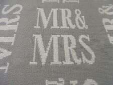 Cynthia Rowley Sofa Throw Blanket Gray White MR & MRS Graphic Writing New