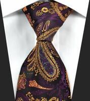 Hot Classic Paisley Purple Gold Gray JACQUARD WOVEN 100% Silk Men's Tie Necktie