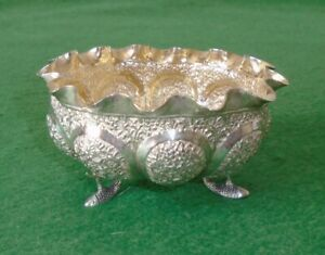 ANTIQUE SILVER BOWL ANGLO-INDIAN SNAKES & FOLIATE REPOUSSE QUALITY circa 1880