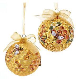 Set/2 Kurt Adler Bumble Honeycomb Bee Hive Christmas Tree Ball Ornament Decor