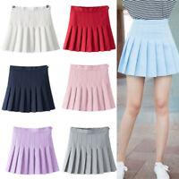 Women Ladies Tennis High Waist Plain Skater Flare Pleated Short Mini Skirt Skort