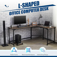 L Shaped Gaming Computer Corner Desk W Cable Management 47x19 66x19 Walnut Home