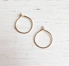 Handmade 14k Gold Filled Tiny Small Plain Hoop Earring New Artisan Jewelry USA