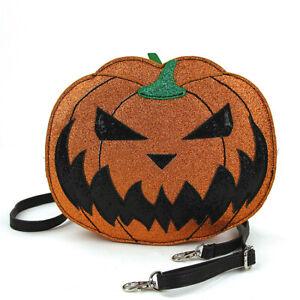 Pumpkin Jack O Lantern Handbag Purse Horror Halloween Orange Glitter Metallic