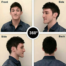 Men's Black Synthetic Hair Topper Toupee Clip Hairpiece Top Short Natural Wig