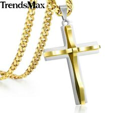 22inch Cross Pendant Necklace Men Gold Stainless Steel Curb Cuban chain 5mm
