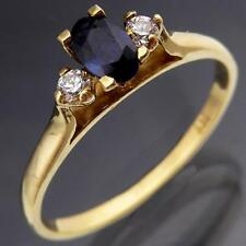 Sweet Solid 9k Yellow GOLD Natural Oval SAPPHIRE & 2 Cubic Zirconia RING Sz O