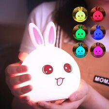 Touch Sensor Rabbit Led Night Light 9 Colors Dimmable Children Bunny Lamp