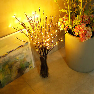 2pcs Battery Vase Lights Lamp Willow Branches Decorative Tall 20 LED Powered