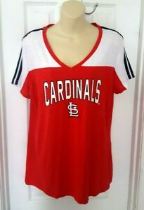 St Louis Cardinals Womens Jersey Shirt Size Large T White Sparkle Logo Baseball