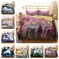 3D Beautiful Castle Unicorn Duvet Cover Bedding Set Quilt Cover Pillow Sham Set