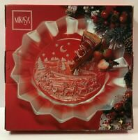 """Mikasa 14"""" Silent Night Christmas Cookie Plate Platter Clear and Frosted Glass"""