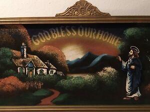 HOUSE BLESSING VELVET PAINTING DECORATIVE GOLDEN WOOD FRAME VINTAGE BEAUTY