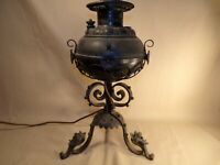 Antique Ornate Oil Lamp with Ornate Iron Base