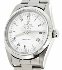 2000's Rolex Air King Mens Stainless Steel Watch White & Black Roman Dial 14000