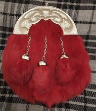 Men'S FULL DRESS lo Sporran Rosso Pelliccia di Coniglio/Kilt Sporran Celtic Cantle/Kilt lo Sporran