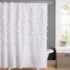 Pretty White Lucia Shower Curtain Fabric Feminine Textured Shabby Chic