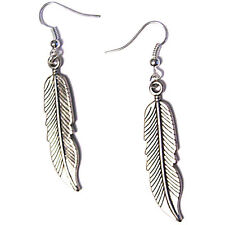 Tribal Feathers Silver Plated Dangling Charm Earrings french hooks soho Style