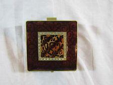 Brown Enamel Metal Box with Rhinstones on Top/Black Velvet Liner w/Mirror