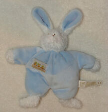 Bunnies By The Bay Soft Blue & White Plush Bunny Rabbit Rattle Carrots Baby Toy