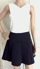 NEW Ex Top Shop Black & White Skater Dress Feature Zip 6 8 10 12 14 16