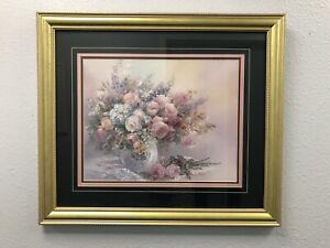VINTAGE LARGE 1980 Lena Liu ROSE FAIRIES Floral Print- CERT,SIGNED Custom Frame