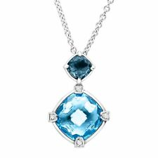 4 ct Natural Swiss & London Blue Topaz Pendant with Diamonds in Sterling Silver