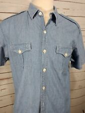 Vtg Polo by Ralph Lauren Men's Button Down Light Wash Denin Shirt Short Sleeve L