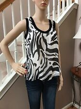 Escada 100% Silk Animal Zebra Print Dressy Sleeveless Tank Top Cami 36 6