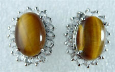 Genuine Tigereye Tiger's Eye Opal White Gold Plated Crystal Earrings