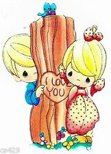 "7"" Precious moments boy girl love tree bird wall safe sticker border cut out"