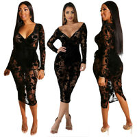 Women Long Sleeve V Neck Sheer Mesh Floral Embroidered Party Bodycon Black Dress