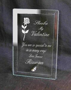 Beautiful Personalised Engraved Valentines Day Gift Plaque Glass Special