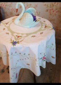 Beautiful Cotton Tablecloth - Amazing Cross Stitch Detail - A Work of Art!