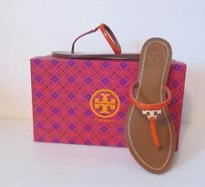 Tory Burch T Logo flat thong poppy orange red leather sandal 9 patent shoe gold