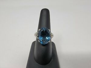 Judith Ripka ? Style Ring Sterling Silver Faceted Blue Topaz Ring Size 6