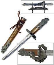 "LETTER OPENER | 9.5"" Mini Brown Samurai Sword Dragon Blade + Display Stand"