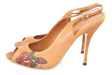 Vintage Gucci Sz 38.5 Pioneer Rose Tattoo Leather Slingback Heels Shoes New Box