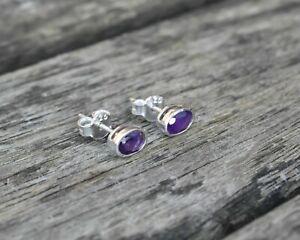 Handmade 925 Sterling Silver Amethyst Gemstone Oval Stud Earrings