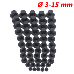 3-15 mm Round Silicone Rubber Blanking End Cap Stopper Tube Pipe Seal Plug Black