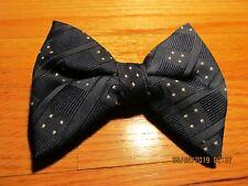 Vtg Large Black Bow Tie Clip On Rockabilly - Dark Blue White Dot Tapper Dapper