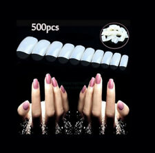 500 PCS White False Acrylic UV Gel Half French Nail Art Tips Tools