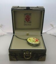 Decree Bird & Flowers Oval Shaped Locket/Pendant Watch Necklace NIB, DEC01