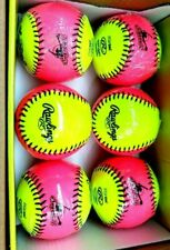 "Rawlings 10"" Soft Indoor Outdoor Fastpitch Training Softball Set of 6 New"