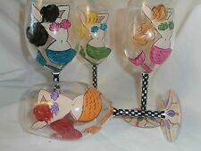 HAND PAINTED ACRYLIC GOBLETS.MERMAIDS/CHECKS/STARFISH/ SET OF 4(MADE IN THE USA)