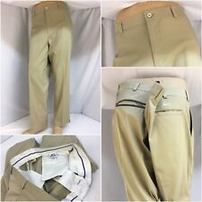 Slazenger Golf Pants 40x30 Tan Poly Spandex Flat Front Worn Once YGI 6747