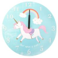 WALL CLOCK UNICORN Gift 34cm Children Rainbow Home Decor Once upon a time